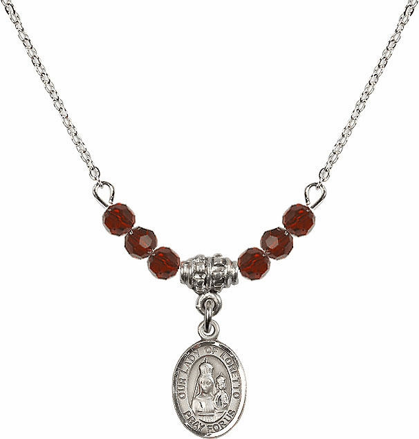 Our Lady of Loretto Garnet Swarovski Beaded Necklace by Bliss Mfg