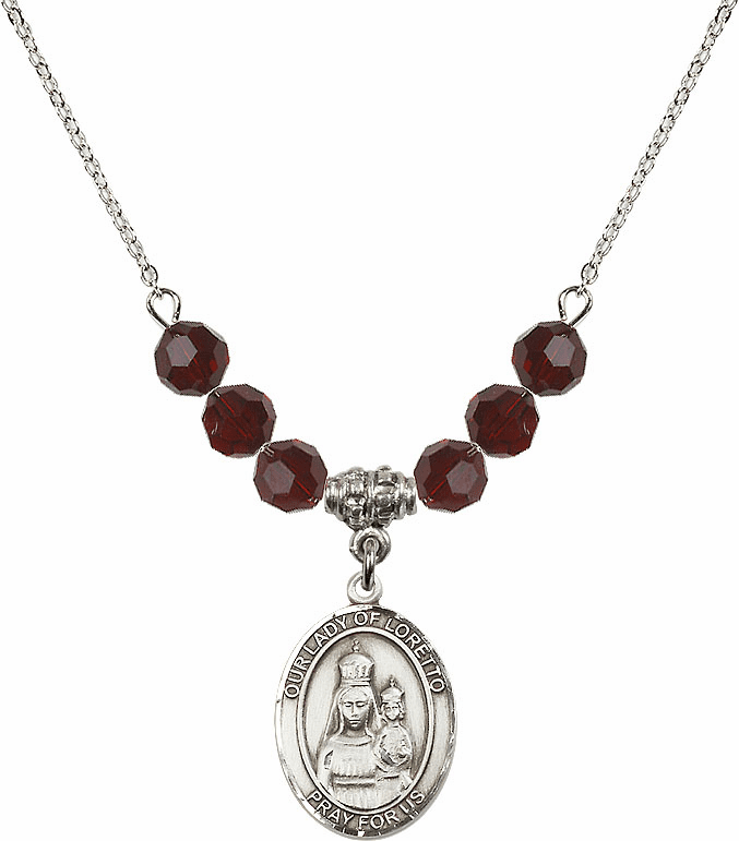 Our Lady of Loretto Garnet Swarovski Necklace by Bliss Mfg