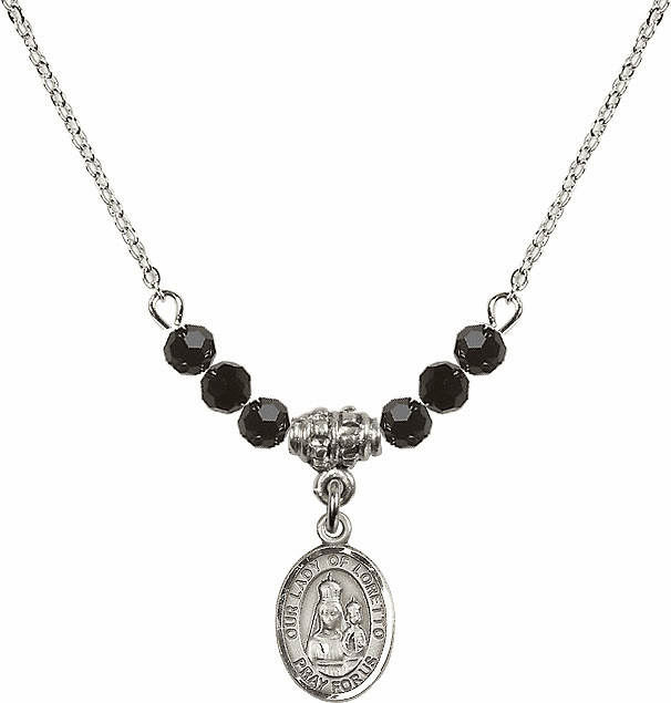 Our Lady of Loretto Jet Black Swarovski Beaded Necklace by Bliss Mfg