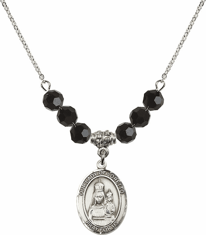 Our Lady of Loretto Jet Black Swarovski Necklace by Bliss Mfg