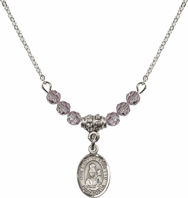 Our Lady of Loretto Lt Amethyst Swarovski Beaded Necklace by Bliss Mfg