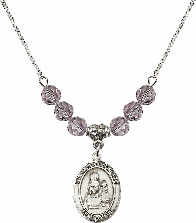 Our Lady of Loretto Lt Amethyst Swarovski Necklace by Bliss Mfg