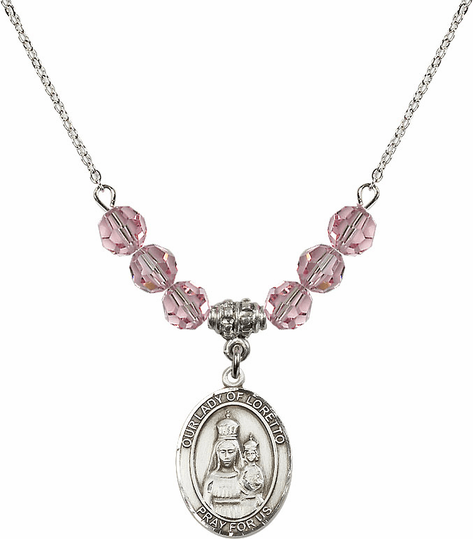 Our Lady of Loretto Lt Rose Swarovski Necklace by Bliss Mfg
