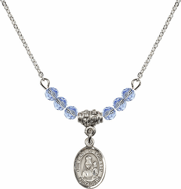 Our Lady of Loretto Lt Sapphire Swarovski Beaded Necklace by Bliss Mfg