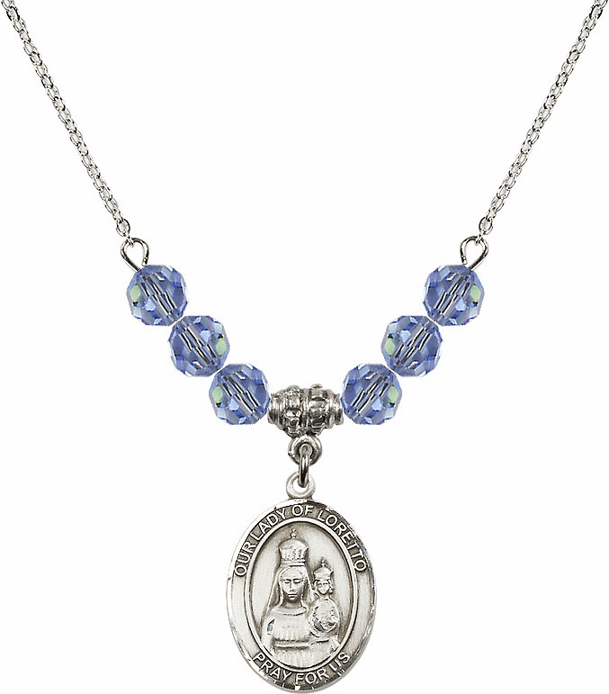 Our Lady of Loretto Lt Sapphire Swarovski Necklace by Bliss Mfg