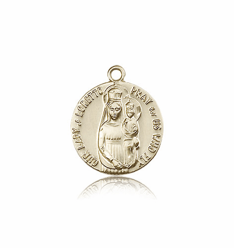 Our Lady of Loretto Patron Saint of Aviators 14kt Gold Medal by Bliss