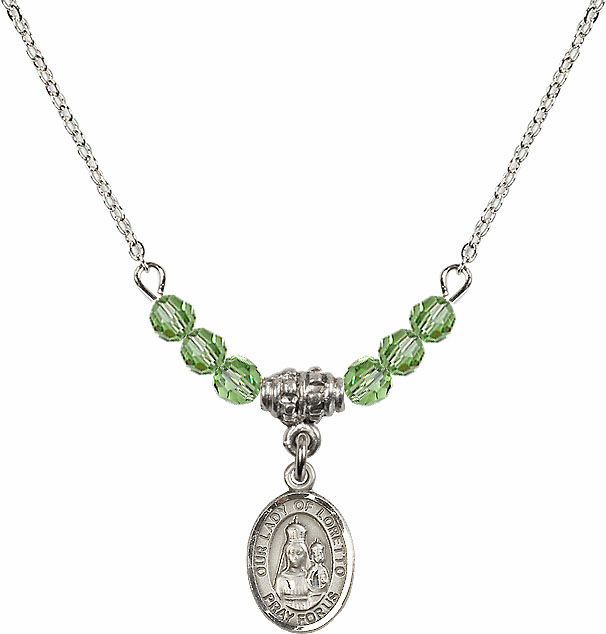 Our Lady of Loretto Peridot Swarovski Beaded Necklace by Bliss Mfg