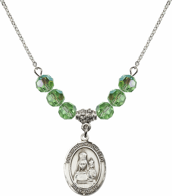 Our Lady of Loretto Peridot Swarovski Necklace by Bliss Mfg