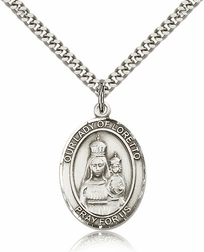 Our Lady of Loretto Pewter Patron Saint Catholic Necklace by Bliss