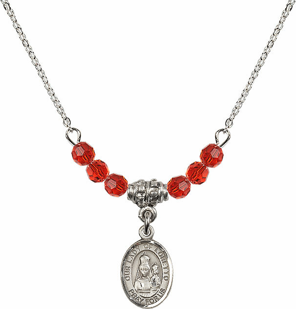 Our Lady of Loretto Ruby Swarovski Beaded Necklace by Bliss Mfg
