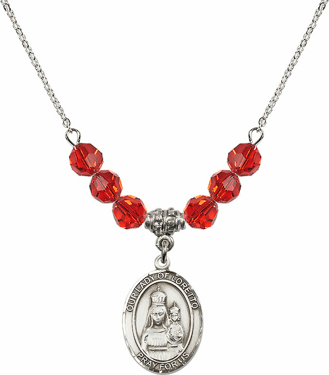 Our Lady of Loretto Ruby Swarovski Necklace by Bliss Mfg