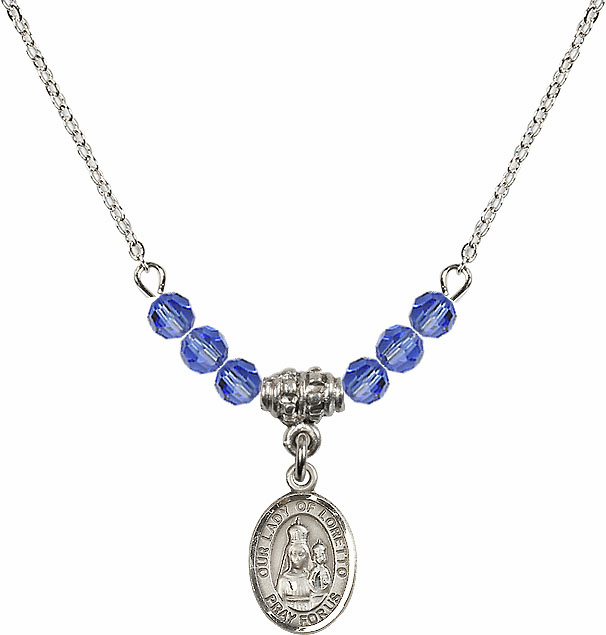Our Lady of Loretto Sapphire Swarovski Beaded Necklace by Bliss Mfg