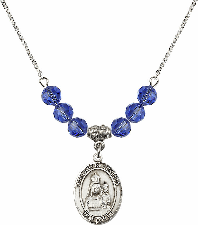 Our Lady of Loretto Sapphire Swarovski Necklace by Bliss Mfg