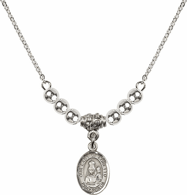 Our Lady of Loretto Silver Beaded Necklace by Bliss Mfg