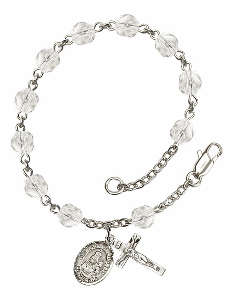 Our Lady of Loretto Silver Plate April Birthstone Rosary Bracelet by Bliss
