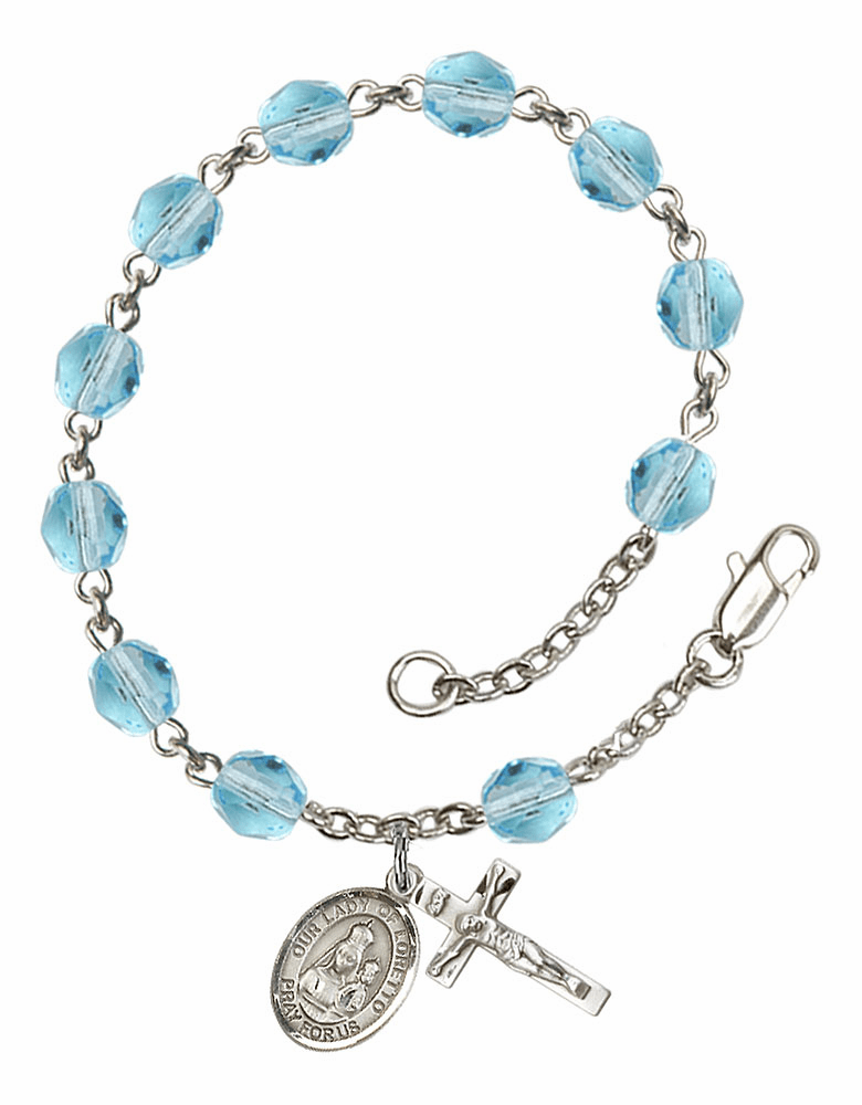 Our Lady of Loretto Silver Plate Aqua Birthstone Rosary Bracelet by Bliss