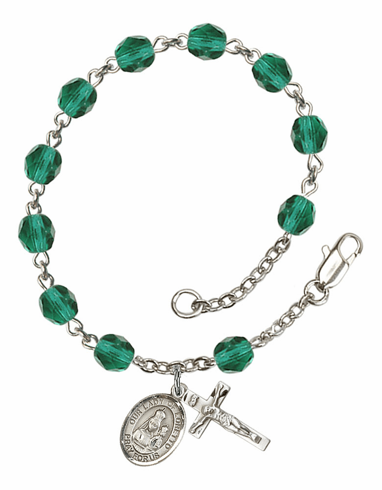 Our Lady of Loretto Silver Plate Zircon Birthstone Rosary Bracelet by Bliss