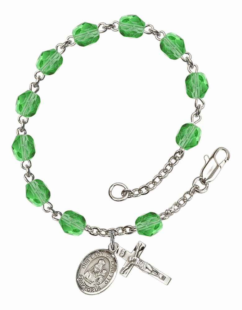 Our Lady of Loretto Silver Plate Peridot Birthstone Rosary Bracelet by Bliss