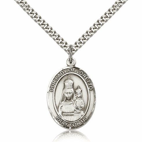Our Lady of Loretto Sterling Silver Patron Medal Necklace by Bliss