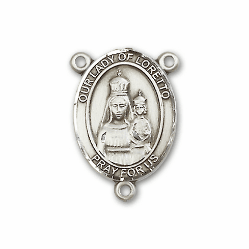 Our Lady of Loretto Sterling Silver Saint Rosary Center by Bliss