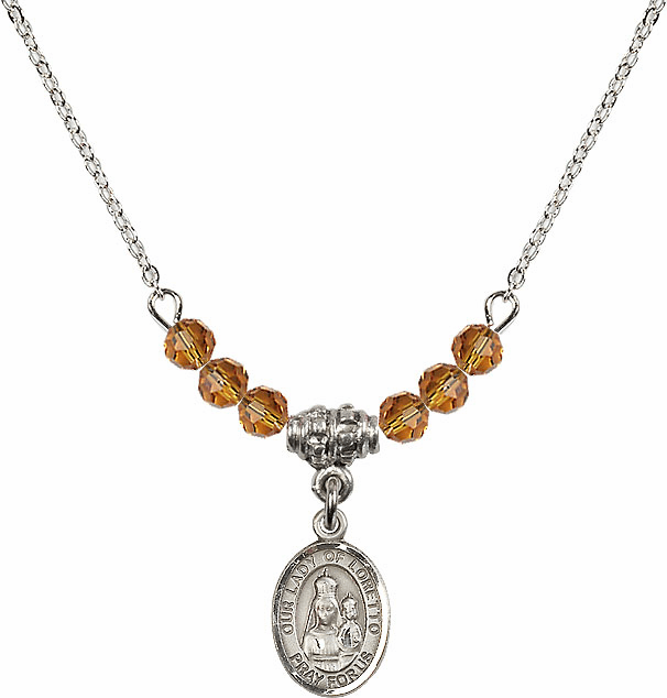 Our Lady of Loretto Topaz Swarovski Beaded Necklace by Bliss Mfg