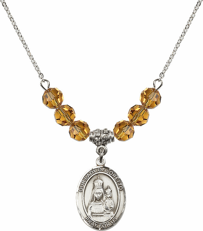Our Lady of Loretto Topaz Swarovski Necklace by Bliss Mfg