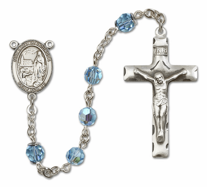 Our Lady of Lourdes Aqua Swarovski Sterling Silver Prayer Rosary by Bliss
