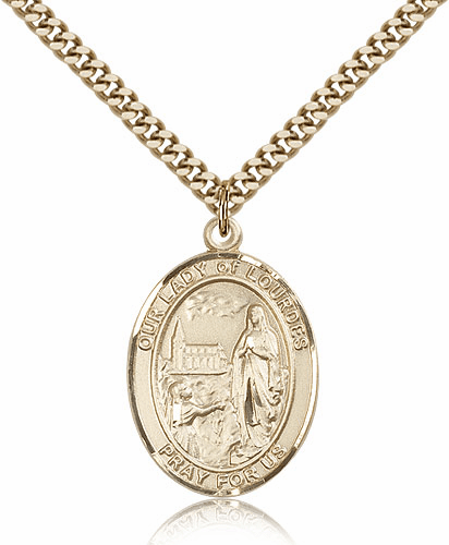 Our Lady of Lourdes Gold Filled Patron Medal Necklace by Bliss