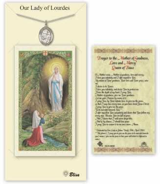 Our Lady of Lourdes Pendant and Holy Prayer Card Gift Set by Bliss