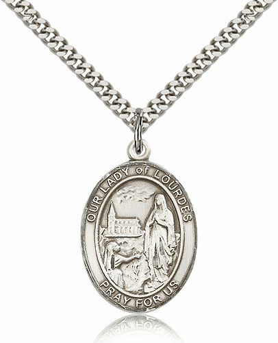 Our Lady of Lourdes Pewter Patron Saint Catholic Necklace by Bliss