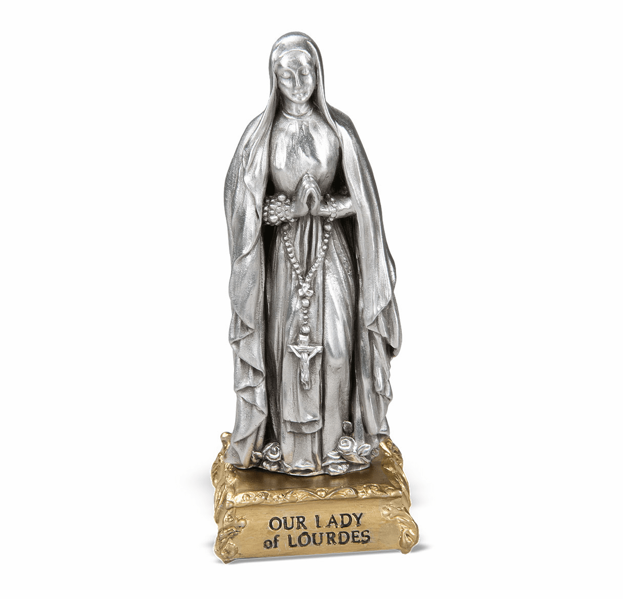 Our Lady of Lourdes Pewter Statue on Gold Tone Base by Hirten