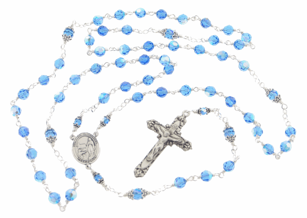 Our Lady of Lourdes Sapphire Swarovski Sterling Rosary by Heavenly Divine
