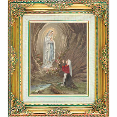 Our Lady of Lourdes under Glass w/Gold Framed Picture by Cromo N B Milan Italy