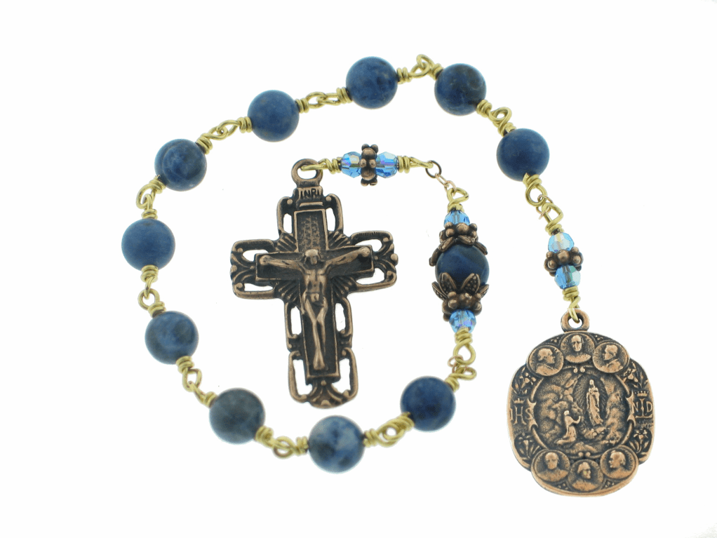 Our Lady of Lourdes - Virgo Mary Bronze Wire Wrapped Prayer Pocket Rosary by Heavenly Divine