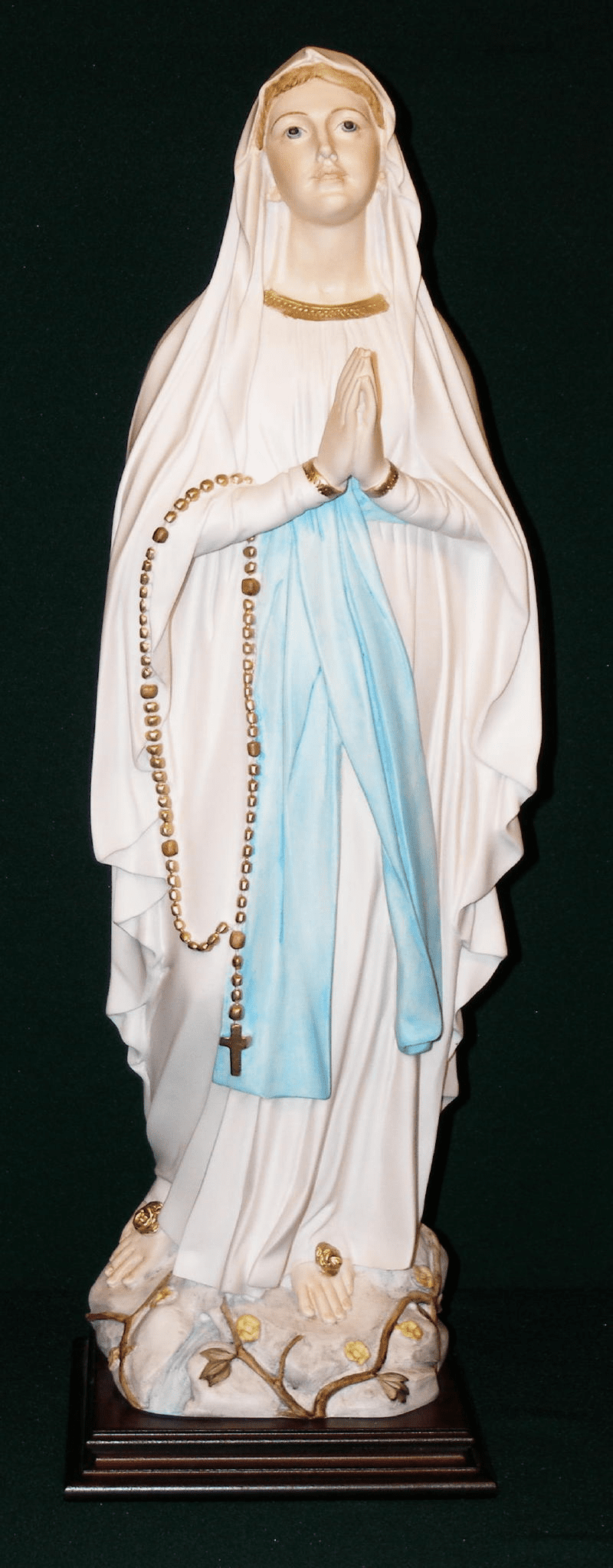 Our Lady of Lourdes with Rosary Alabaster Catholic Statue