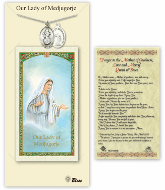 Our Lady of Medugorje Pendant and Holy Prayer Card Gift Set by Bliss
