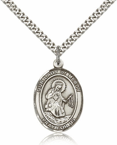 Our Lady of Mercy Silver-filled Patron Saint Necklace with Chain by Bliss
