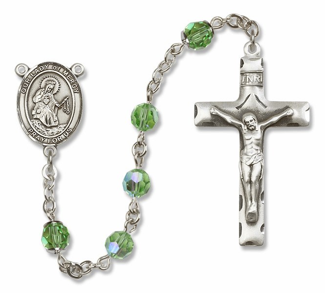 Our Lady of Mercy Swarovski Sterling Silver Prayer Rosary by Bliss