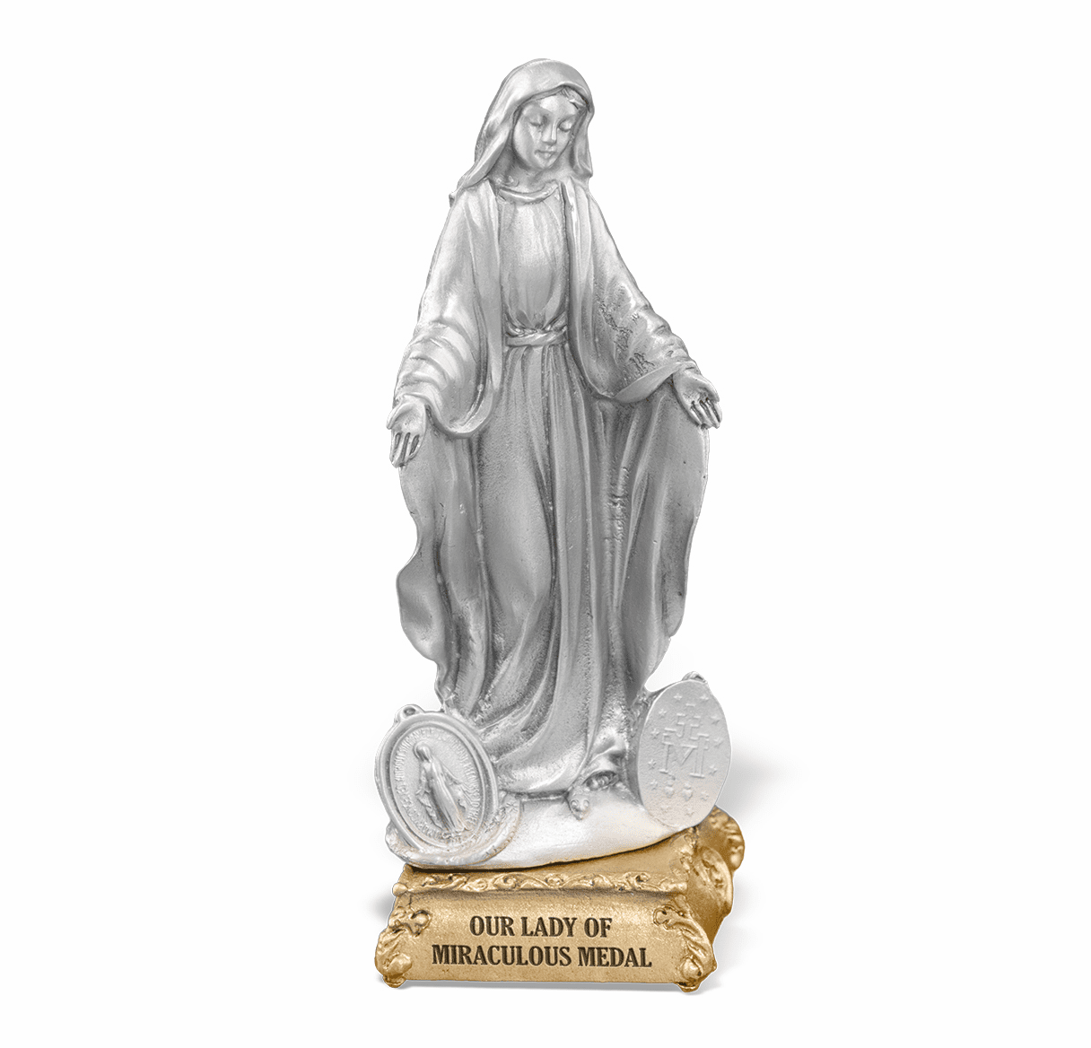 Our Lady of Miraculous Medal Pewter Statue on Gold Tone Base by Hirten
