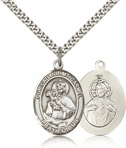 Our Lady of Mount Carmel Pewter Patron Saint Catholic Necklace by Bliss