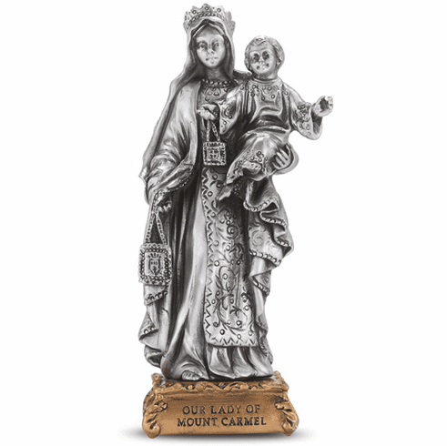 Our Lady of Mt. Carmel Pewter Statue on Gold Tone Base by Hirten