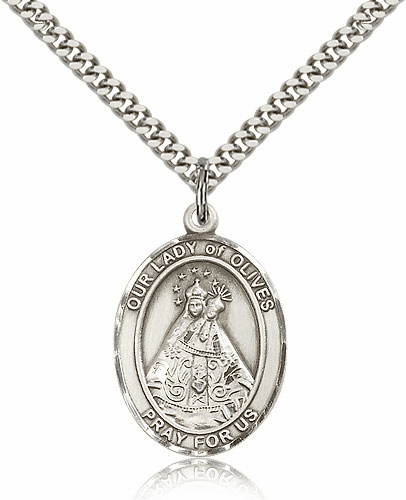Our Lady of Olives Sterling Silver Patron Medal Necklace by Bliss Mfg