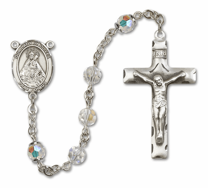 Our Lady of Olives Swarovski Crystal Sterling Silver Prayer Rosary by Bliss