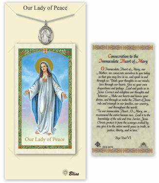 Our Lady of Peace Pendant and Holy Prayer Card Gift Set by Bliss