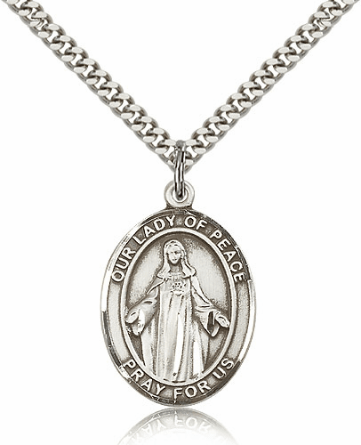 Our Lady of Peace Pewter Patron Saint Necklace by Bliss