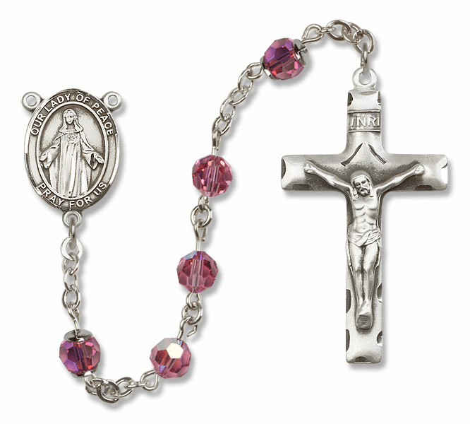 Our Lady of Peace Swarovski Sterling Silver Prayer Rosary by Bliss