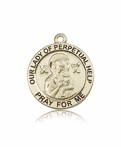 Our Lady of Perpetual Help 14kt Gold Patron Medal