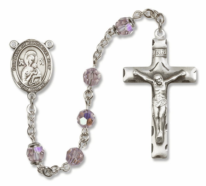 Our Lady of Perpetual Help Lt Amethyst Swarovski Sterling Silver Prayer Rosary by Bliss