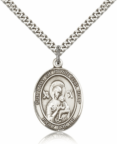 Our Lady of Perpetual Help Pewter Patron Saint Necklace by Bliss