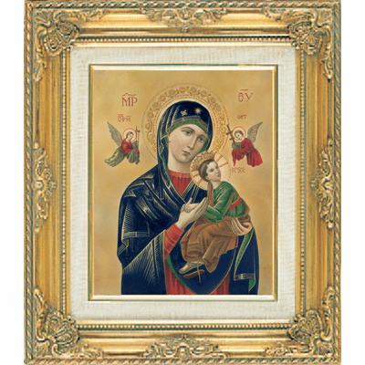 Our Lady of Perpetual Help under Glass w/Gold Framed Picture by Cromo N B